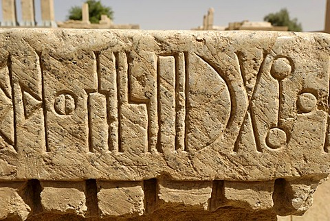 Stone with sabaeic inscription, Marib, Yemen