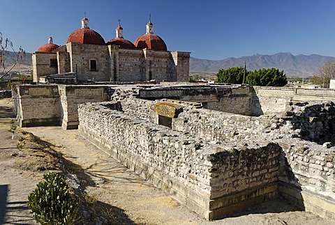 Church in the archeological site of Mitla, Lyobaa, Oaxaca, Mexico