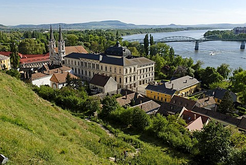 View over Esztergom on the Danube river, Hungaria
