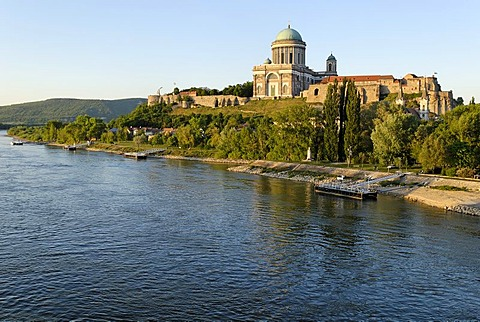 Dome and castle of Esztergom at the Danube river, Hungaria