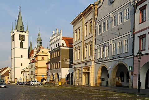 Historic old town of Litomerice on the Labe or Elbe river, north Bohemia, Czech Republik