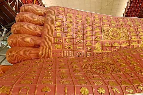 Foot sole of a Buddha statue, Kyaukhtatkyi Pagode, Yangon, Myanmar
