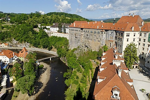 Schwarzenberg castle, historic old town of Cesky Krumlov, south Bohemia, Czech Republic