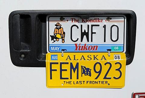 Double licence plate, Alaska, Yukon