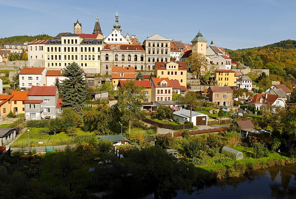 Historic old town of Loket, Eger river, Ohre, west Bohemia, Czech Republik