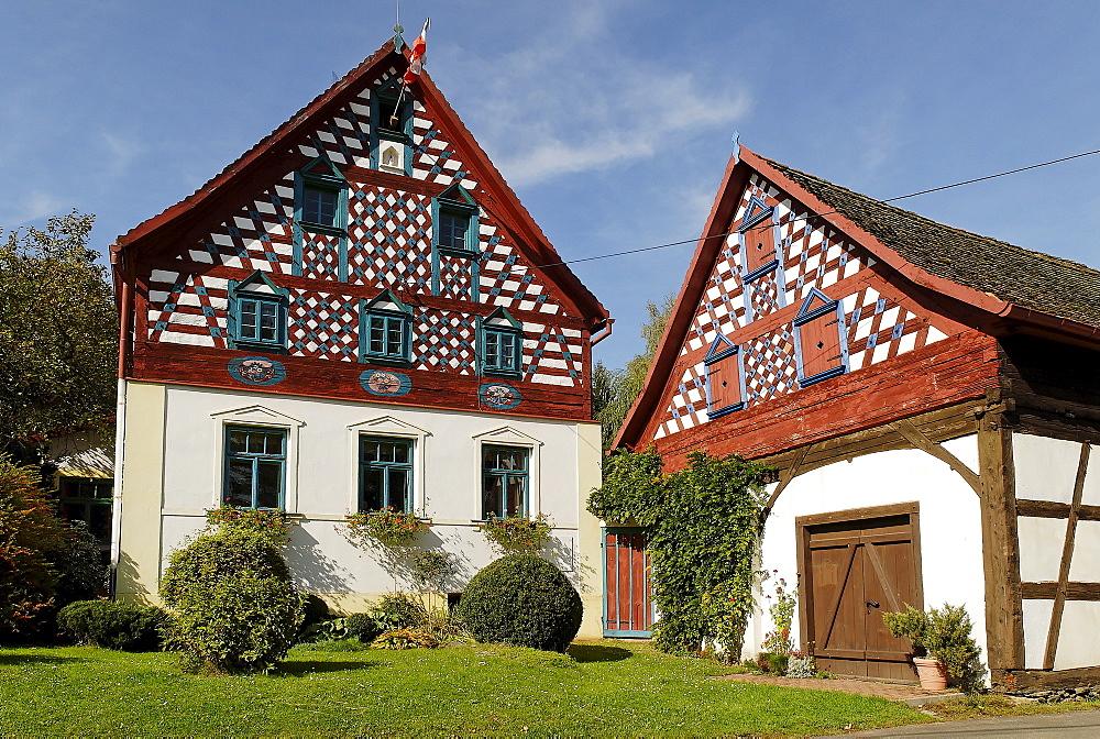 Traditional farmhouse at Doubrava, Egerland, west Bohemia, Czech Republic