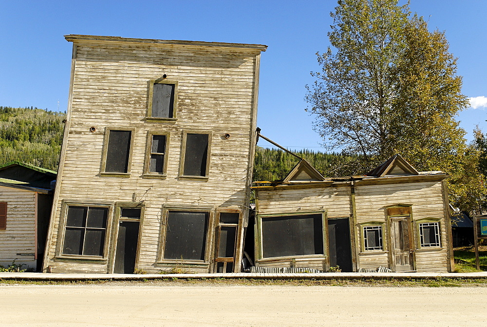 House destroyed by permafrost, Dawson City, Yukon Territory, Canada