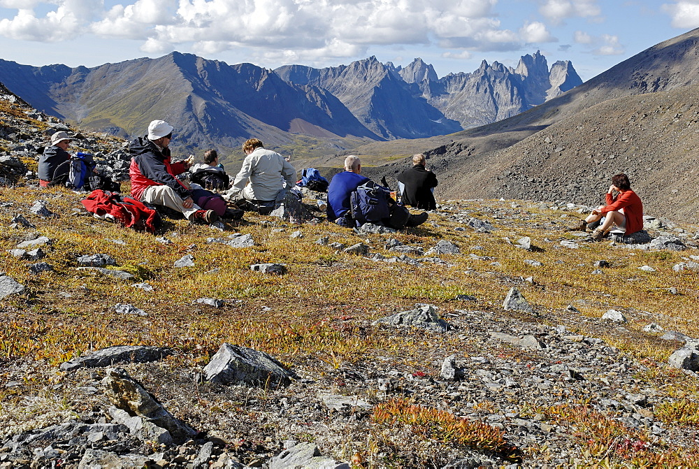 Hiking group at Tombstone Territorial Park, Dempster Highway, Yukon Territory, Canada