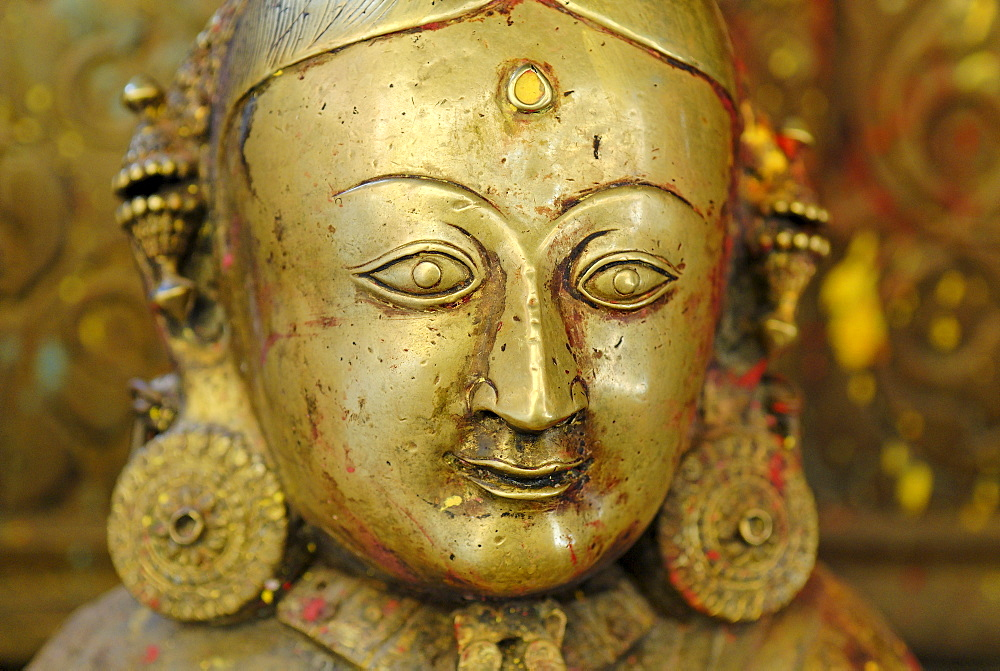 Historic bronce statue, Golden Tempel Kwa Bahal, Patan, Kathmandu, Nepal