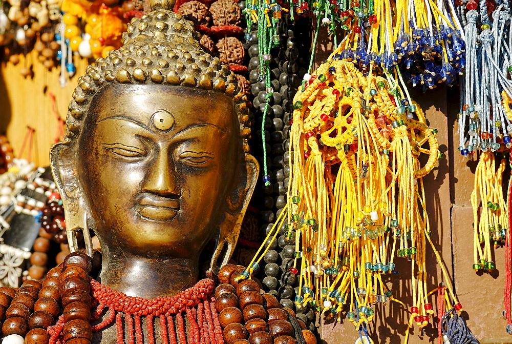 , tourist market at Bodhnath, Boudha, Kathmandu, Nepal