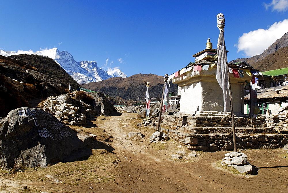 Stupa and Trekking Lodge at Khumjung Sherpa village, Sagarmatha National Park, Khumbu, Nepal