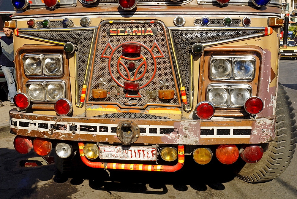 Old decorated bus in the old town of Damascus, Syria