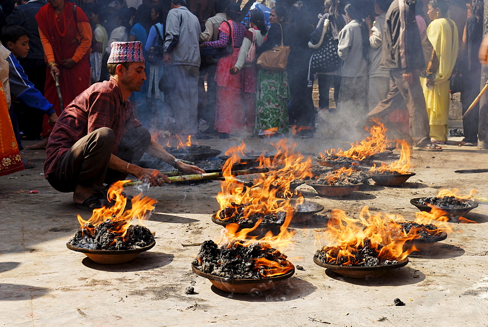 Hinduistic-buddhistic ceremony at Patan, Kathmandu, Nepal