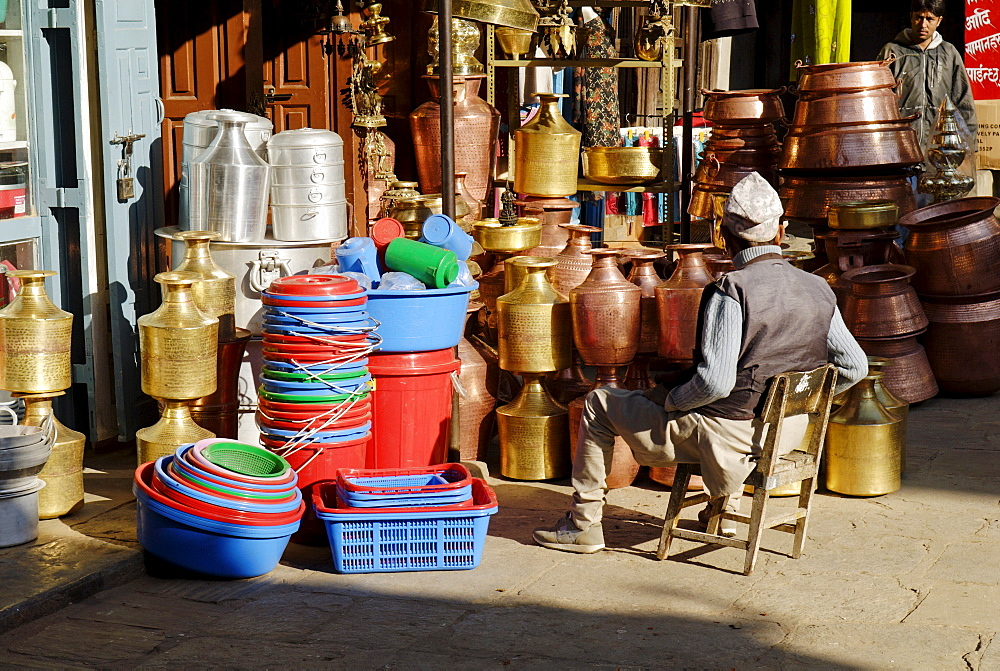 Sale of houseware at Patan, Kathmandu, Nepal