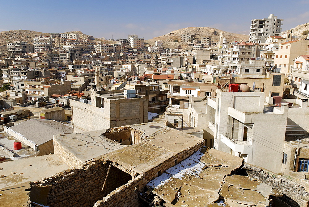 View over the christian arabian town of Sednaya, Saidnaya, Syria