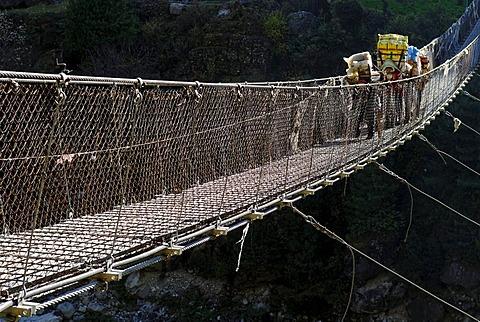 Hillary Bridge over Dudh Koshi river, Khumbu Himal, Sagarmatha National Park, Nepal