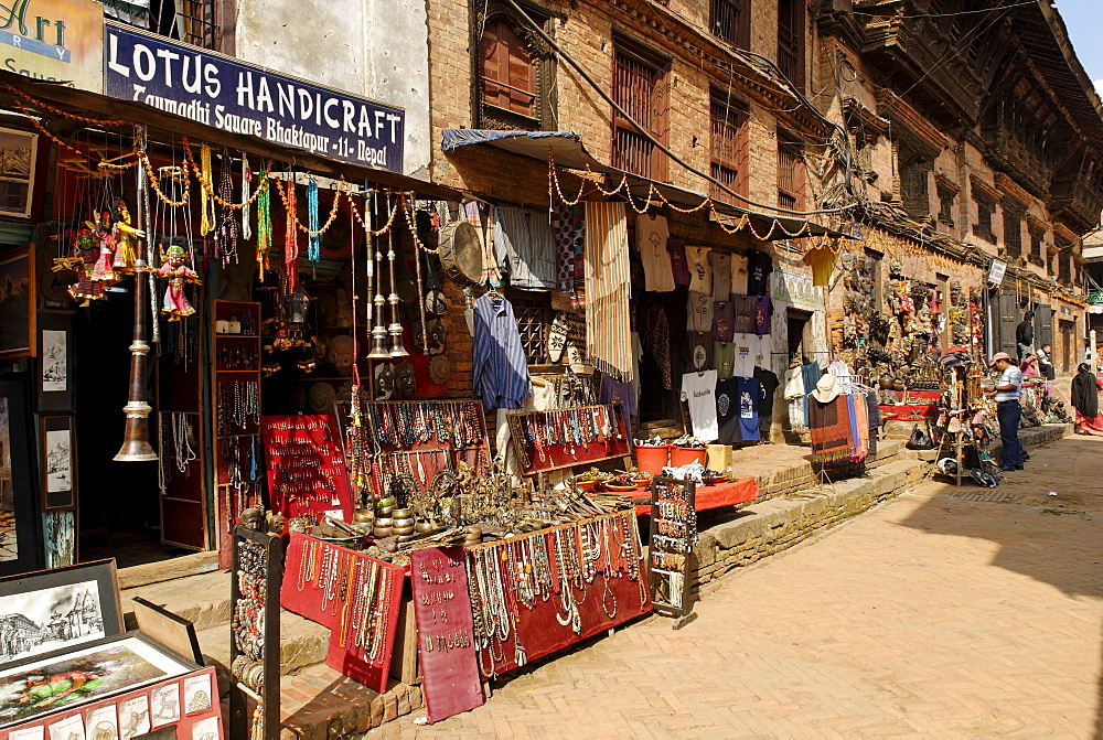 Streetscape in the old town of Bhaktapur, Kathmandu, Nepal