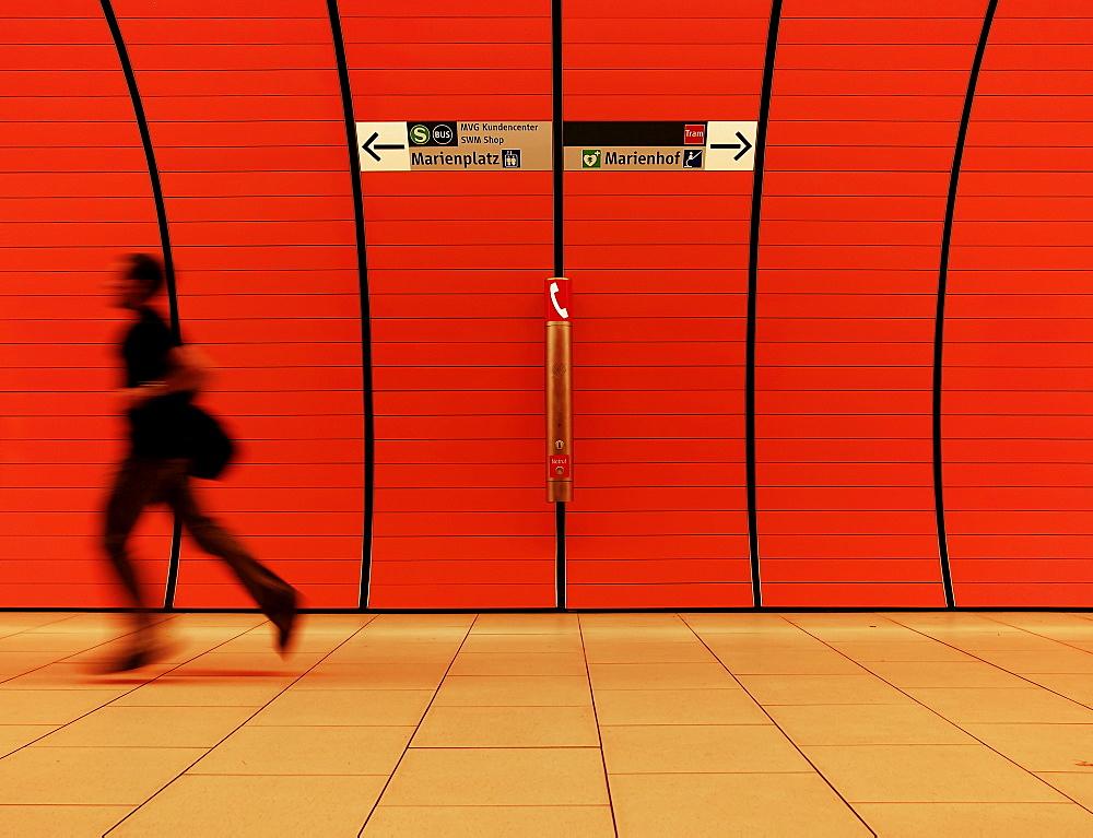 Person rushing, Munich, Upper Bavaria, Germany, Europe