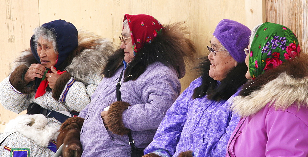 Elderly Inuit women, Inuvik, Mackenzie River Delta, Northwest Territories, Canada