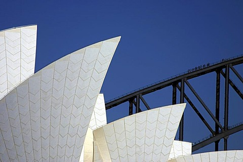 Details of the opera and the Harbour Bridge, Sydney, New South Wales , Australia