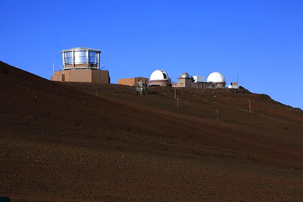 Science City with observatories on the summit of the Haleakala Volcano, Haleakala National Park, Maui Island, Hawaii, USA