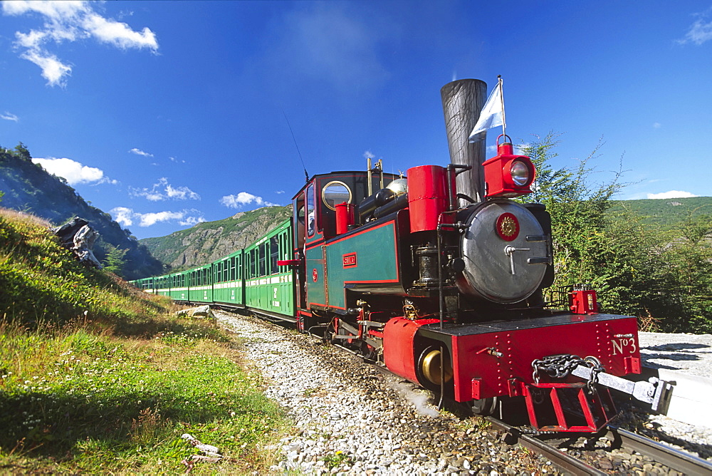 Train at the end of the world in Tierra del Fuego National Park, Argentina, South America