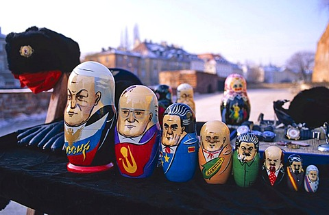 Matryoshka or babushka dolls painted as prominent Russian leaders from Boris Yeltsin to Catherine the Great, Warsaw, Poland, Europe