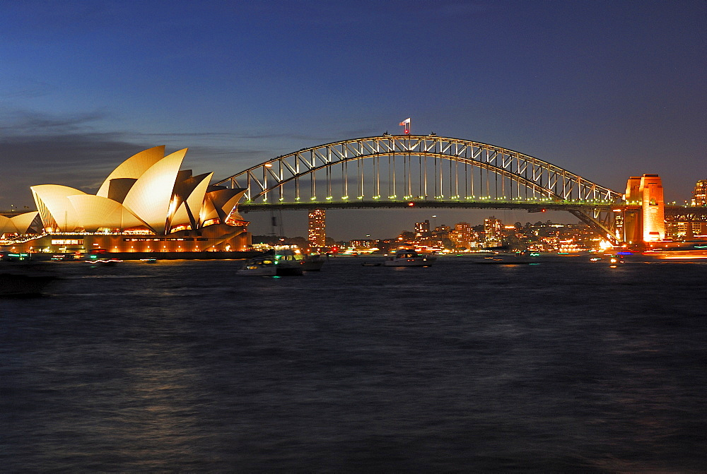 Sydney Opera House and Harbour Bridge at dusk, Sydney, New South Wales, Australia