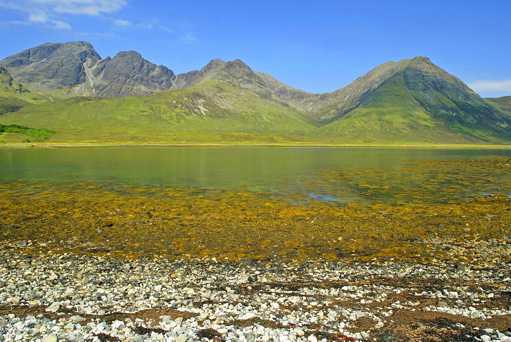 The Red Cuillins behind Loch Slapin, view from the shore in the vicinity of Torrin near Ebbe, Isle of Skye, Western Highlands, Scotland, Great Britain