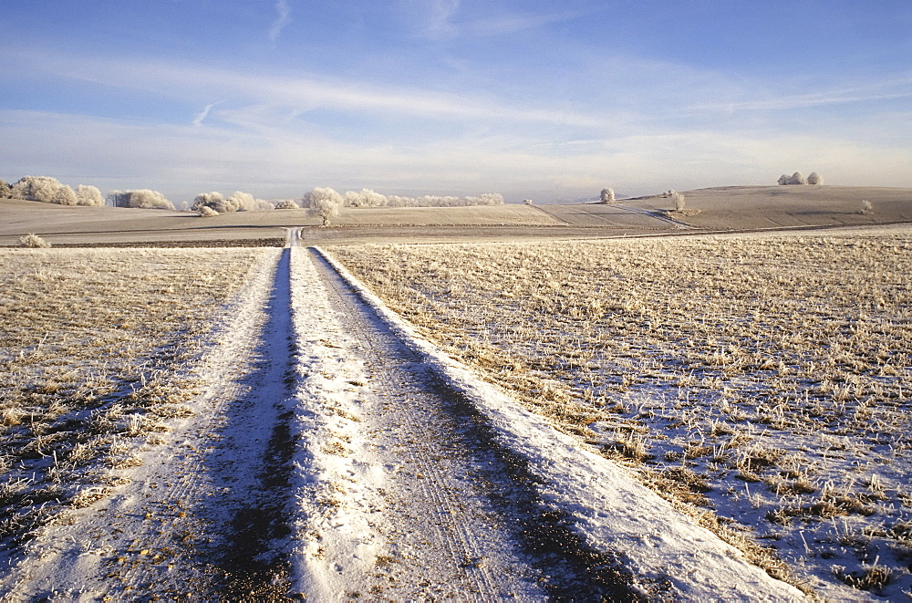 Winter landscape in the Swabian Alb, Baden-Wuerttemberg, Germany, Europe