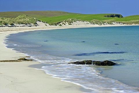 Scousburgh Sands Beach, South Mainland, Shetland Islands, Scotland, Great Britain, Europe