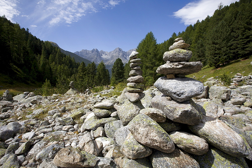 Cairns, mountain landscape, Lower Engadin, Switzerland, Europe
