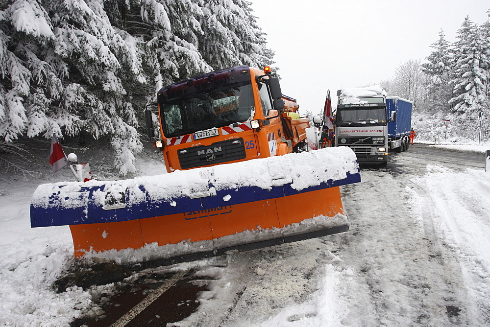 Snowplough on the side of a highway in Germany, Europe