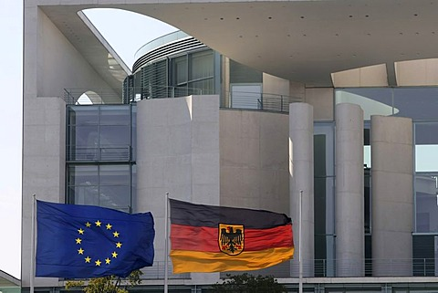 German and European Flags blowing in the wind in front of the Bundeskanzleramt, German Chancellery, Regierungsviertel, Berlin, Germany, Europe