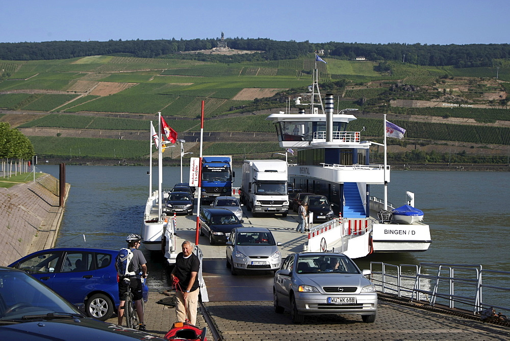 Car ferry, Rhine River, Bingen, Rhineland-Palatinate, Germany, Europe