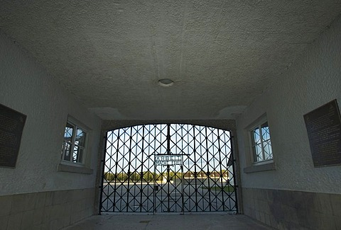 Main entrace with the inscription work frees you in the concentration camp in Dachau