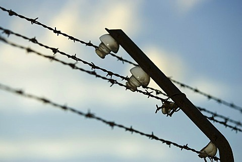 Electric barbed wire at the railings in the concentration camp in Dachau