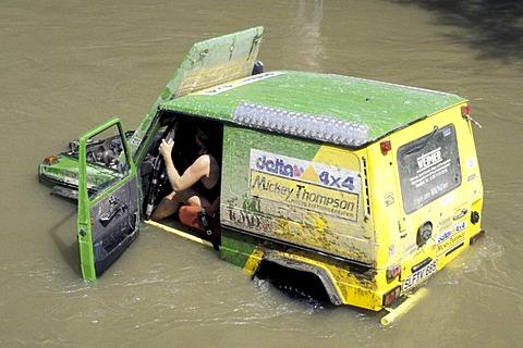 Mercedes G offroad car in water breakdown