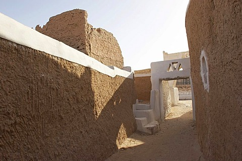 Narrow alleys in picturesque Old Town of Ghadames, UNESCO, Lybia