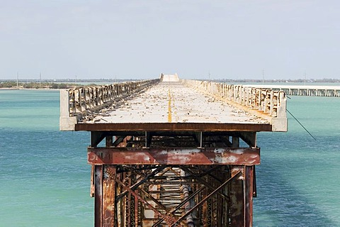 USA, Florida, Bahia Honda Bridge, old and destruct railway bridge at the Florida Keys