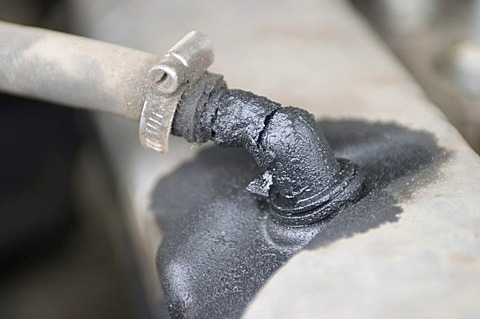 Oil leakage on an engine