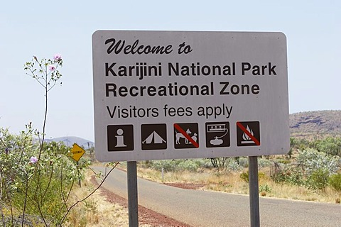 Sign Karijini National Park Pilbara region western australia WA, Australia