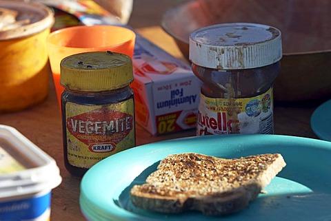 Vegemite, nutella and toast on the breakfast table