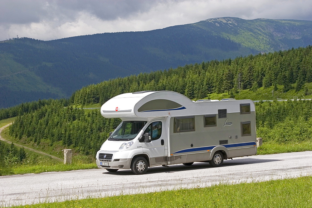 Motorhome on the road, Giant Mountains, Czechia
