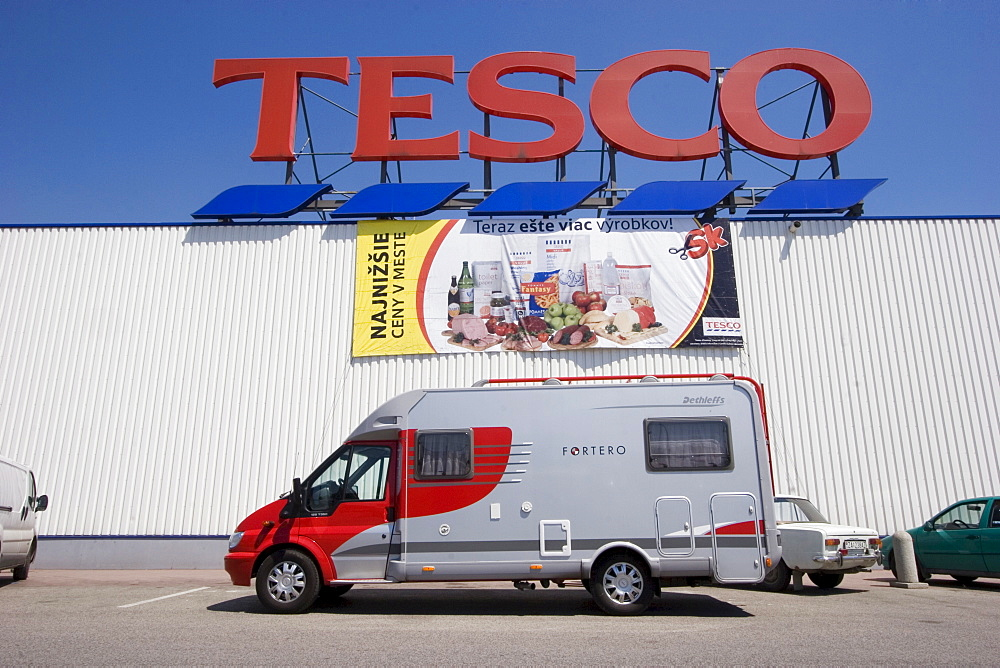 Motorhome in front of Tesco supermarket, Slovakia
