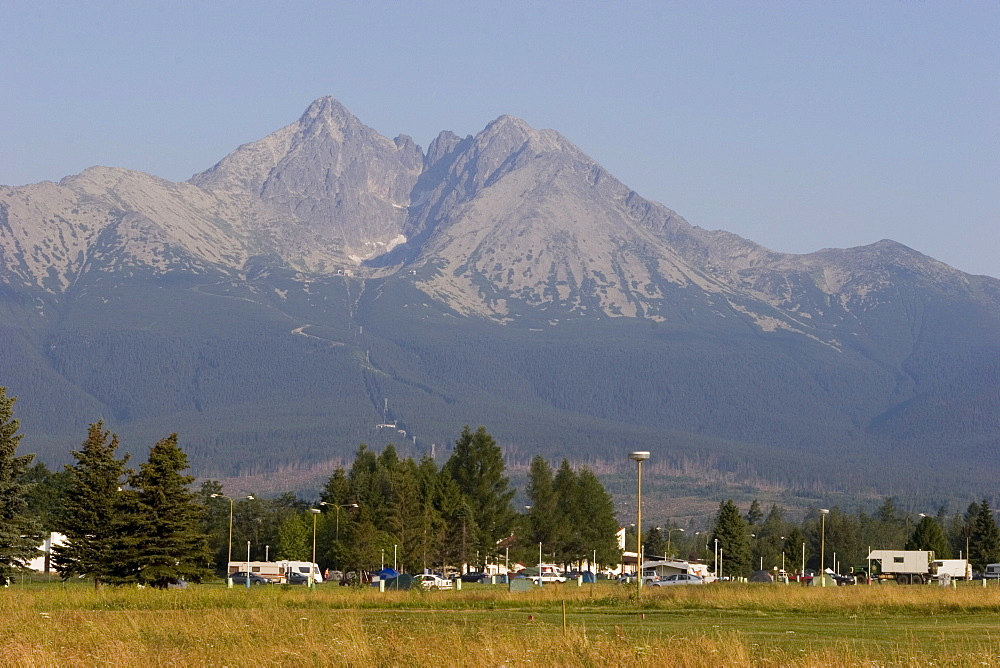 Campground Eurocamp Ficc in front of Lomnioet ck? oetit mountain, 2634 m, High Tatras Slovakia