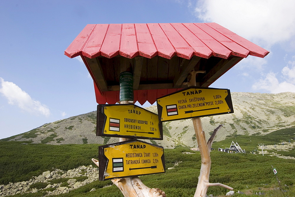 Signpost in the High Tatras, Slovakia