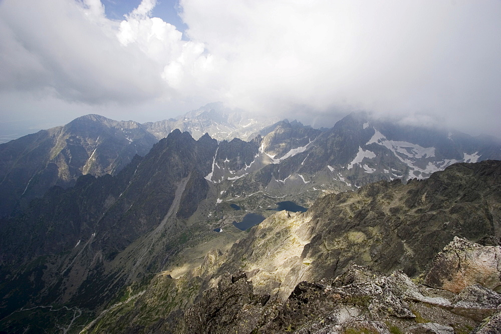 View from Lomnick? oetit mountain, 2634 m, High Tatras, Slovakia