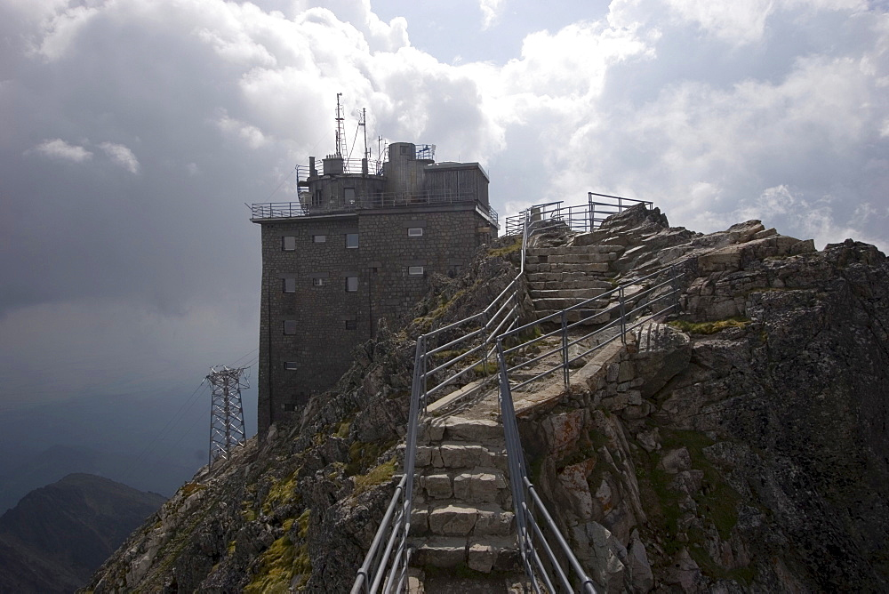 Ropeway station on the Lomnick? oetit mountain, 2634 m, High Tatras, Slovakia