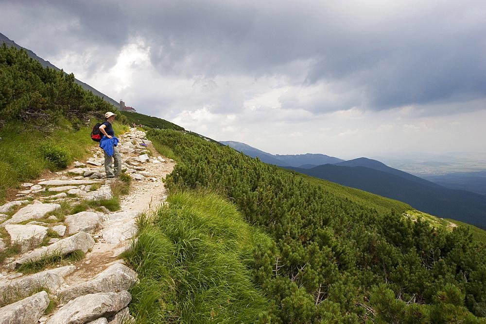 Hiker near Skalnate pleso station, Slovakia